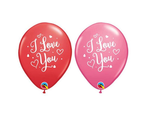 Latex Balloons - 6 Assorted I Love You Latex Balloons  - 11 Inch