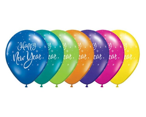 Latex Balloons - 6 Assorted New Years Sparkle Latex Balloons  - 11 Inch