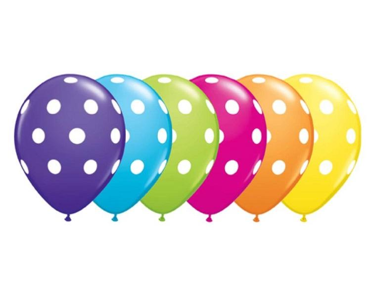Latex Balloons - 6 Assorted Polka Dot Tropical Balloons  - 11 Inch