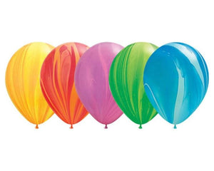Latex Balloons - 6 Assorted Rainbow Agate Balloons  - 11 Inch