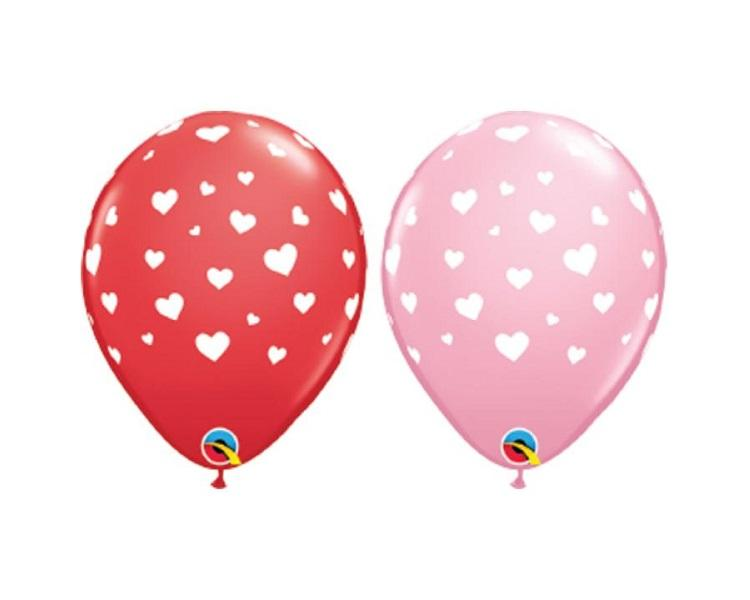 Latex Balloons - 6 Assorted Random Hearts A Round Latex Balloons  - 11 Inch