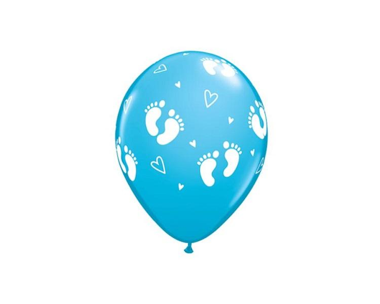 Latex Balloons - Boy Footprint Latex Balloons - 11 Inch