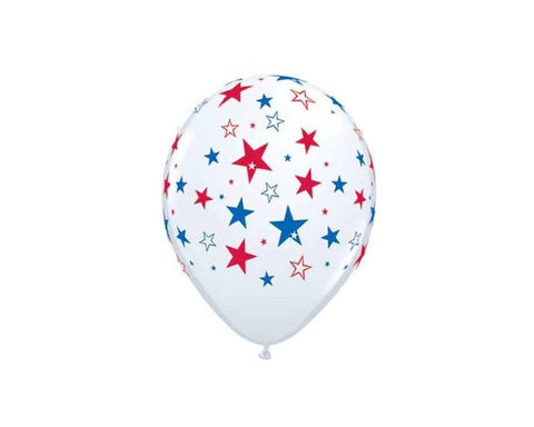 Latex Balloons - Red Blue Stars Latex Balloons - 11 Inch