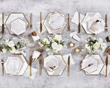 Paper Cups - Blanc White Marble And Gold Paper Cups
