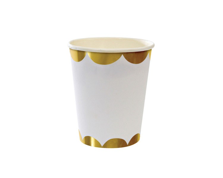 Foil Gold Scallop Paper Party Cups
