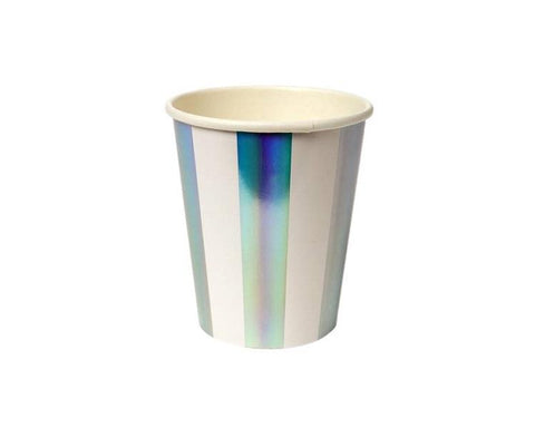 Paper Cups - Holographic Silver Stripe Paper Cups