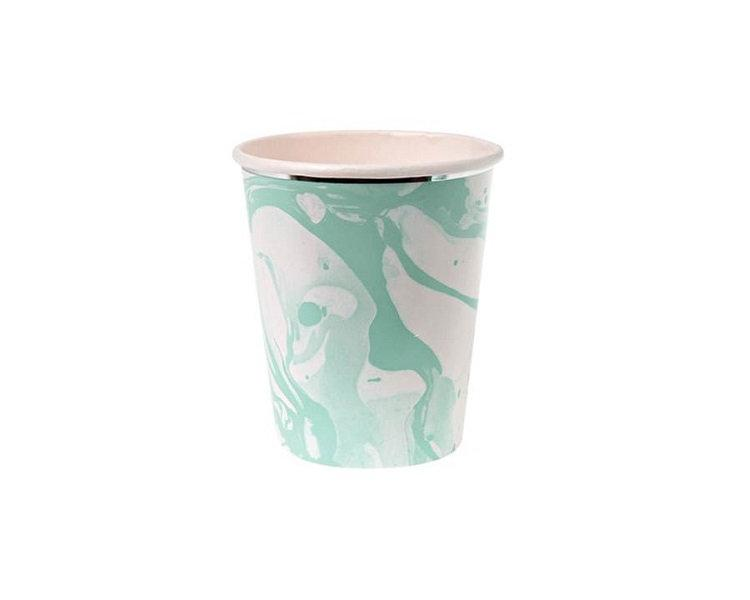 Paper Cups - Mint Marble Paper Cups