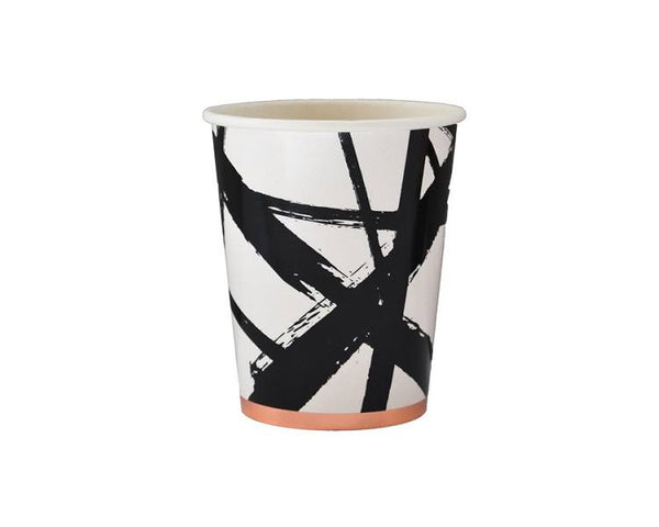 Paper Cups - Muse Black And White Brush Stroke Paper Cups