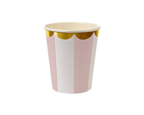 Paper Cups - Pastel Pink Stripe Paper Cups
