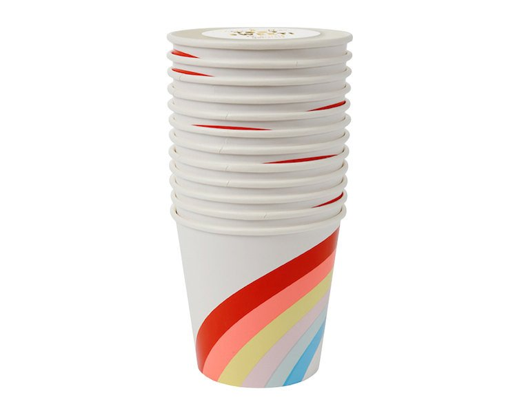 Paper Cups - Rainbows And Unicorns Paper Cups, 12 Pcs