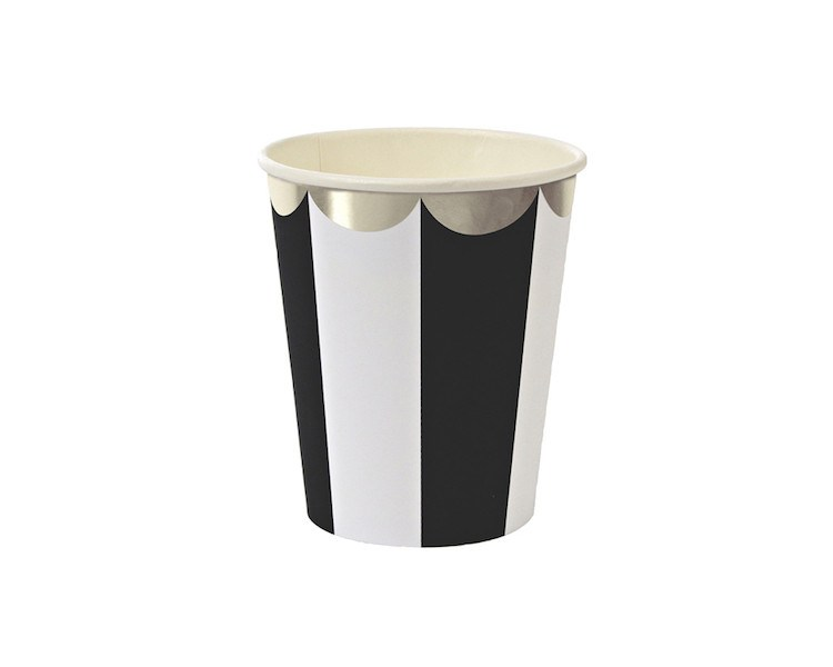 Paper Cups - Toot Sweet Black Striped Scallop Paper Cups, 8 Pcs