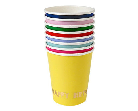 Paper Cups - Toot Sweet Happy Birthday Cups, Assorted, 8 Pcs