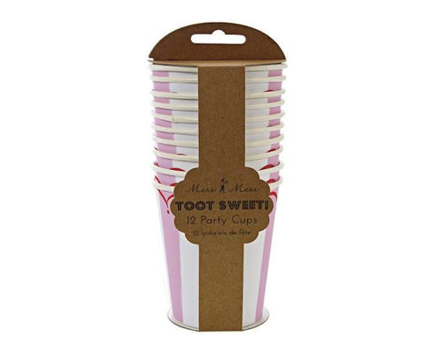 Paper Cups - Toot Sweet Pink Stripe Paper Cups, 8 Pcs