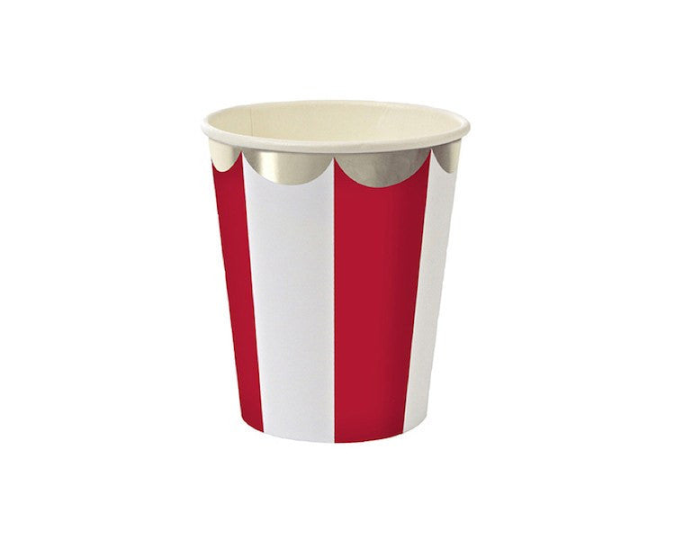 Paper Cups - Toot Sweet Red Striped Scallop Paper Cups