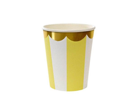 Paper Cups - Toot Sweet Yellow Striped Scallop Paper Cups