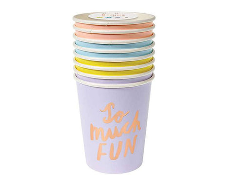 Paper Cups - Typographic Pastel With Rose Gold Paper Cups