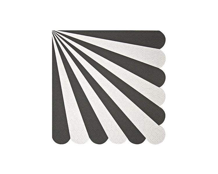 Paper Napkins - Black Stripe Small Paper Napkins, 20 Pcs