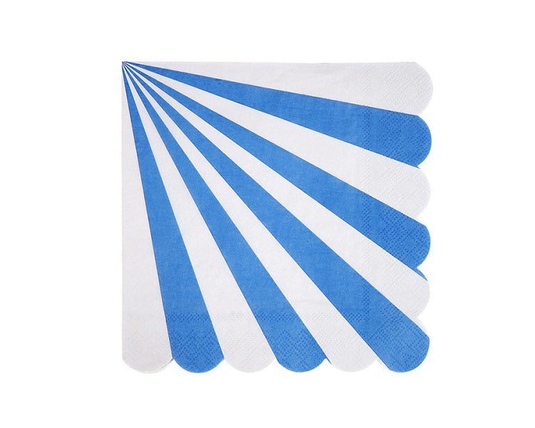 Paper Napkins - Blue Stripe Paper Napkins, Large