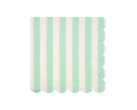 Paper Napkins - Mint Stripe Paper Napkins, Large
