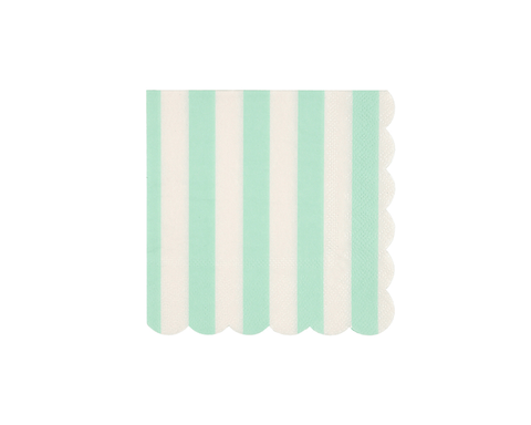 Paper Napkins - Mint Stripe Paper Napkins, Small