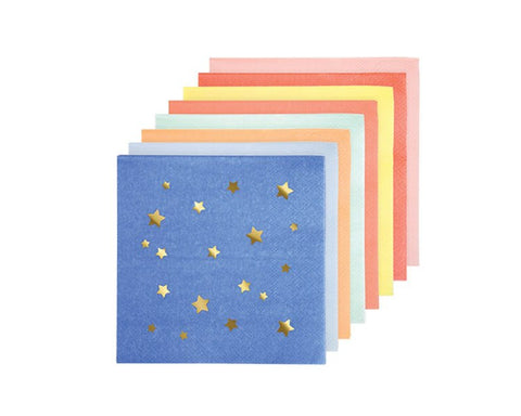 Paper Napkins - Multi Color Stars Paper Napkins
