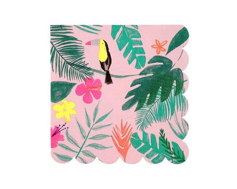 Paper Napkins - Pink Tropical Large Paper Napkins
