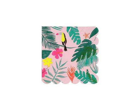 Paper Napkins - Pink Tropical Small Paper Napkins