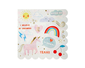 Paper Napkins - Rainbows And Unicorns Large Paper Napkins, 16 Pcs