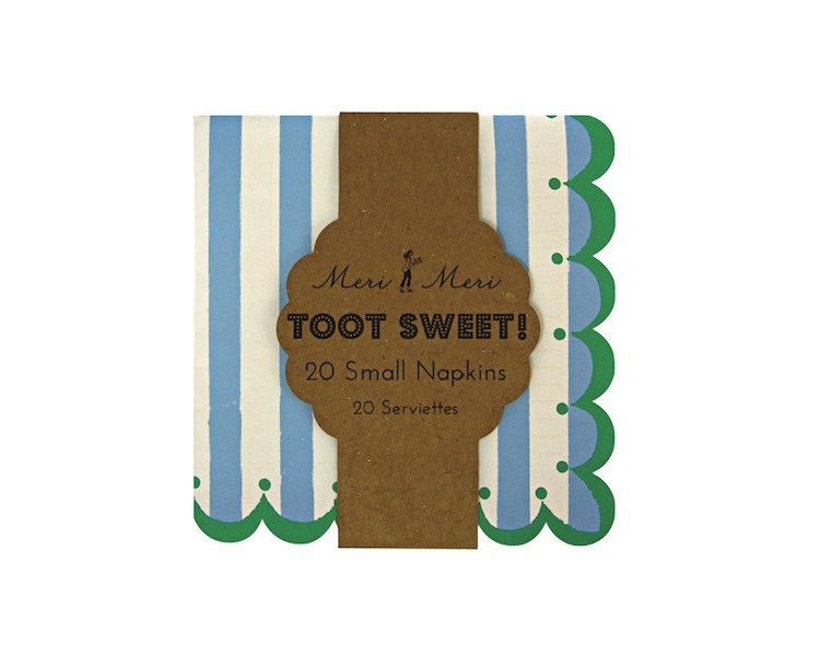 Paper Napkins - Toot Sweet Blue Stripe Small Paper Napkins, 20 Pcs