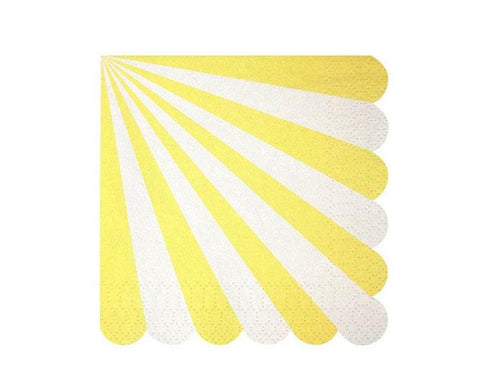 Paper Napkins - Toot Sweet Yellow Striped Paper Napkins, Large