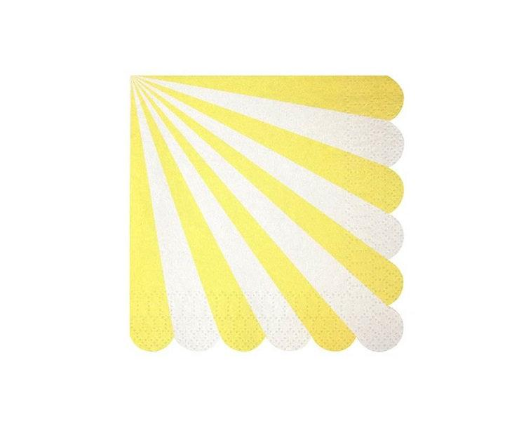 Paper Napkins - Toot Sweet Yellow Striped Paper Napkins, Small