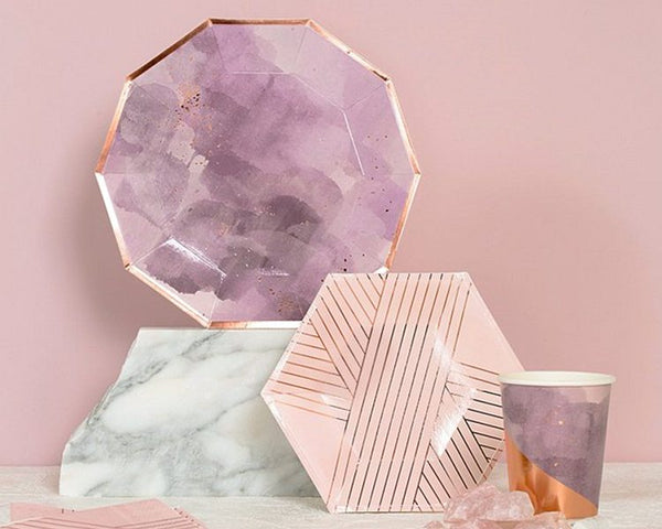 Paper Plates And Bowls - Amethyst Pale Pink Paper Plates, Small