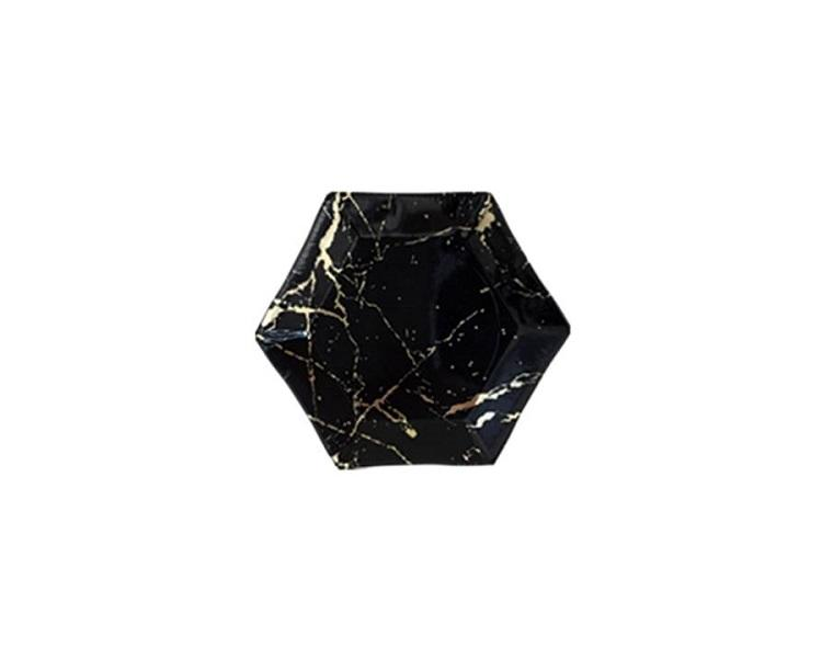 Paper Plates And Bowls - Black And Gold Marble Paper Plates, Mini