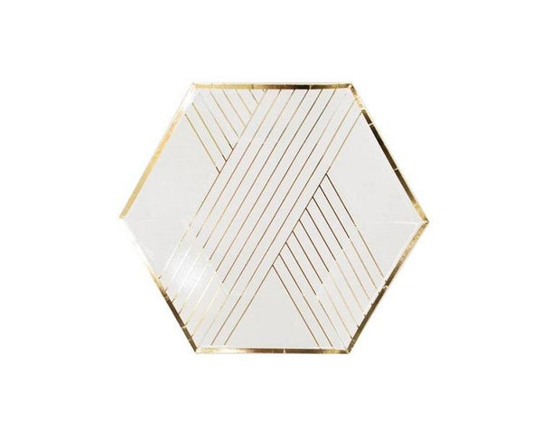 Paper Plates And Bowls - Blanc White Striped Paper Plates, Small