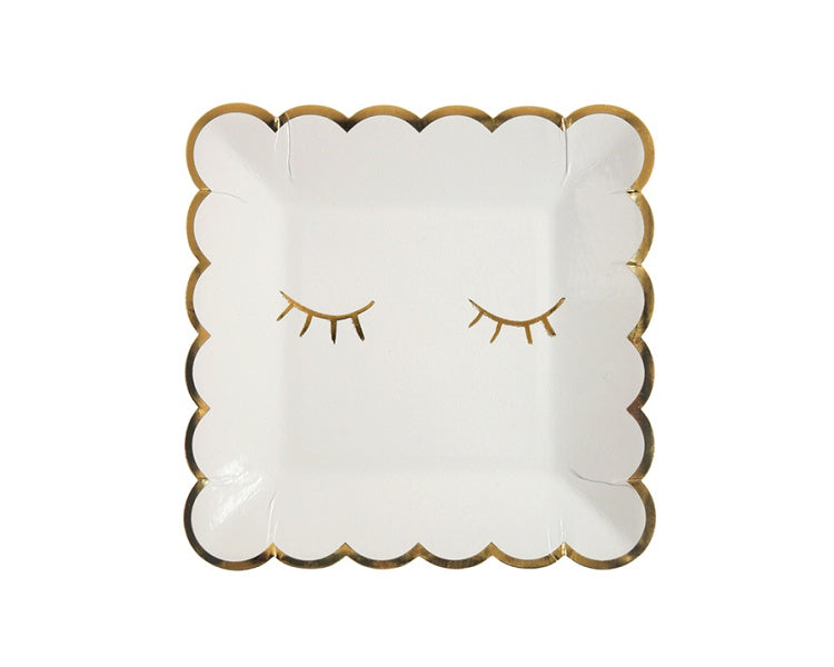Paper Plates And Bowls - Blink White Square Paper Plates