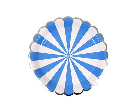 Paper Plates And Bowls - Blue Stripe Paper Plates, Small