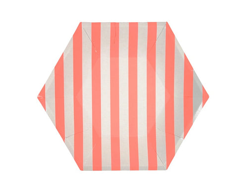 Paper Plates And Bowls - Coral Stripe Paper Plates, Large