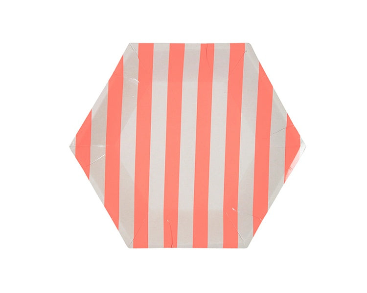 Paper Plates And Bowls - Coral Stripe Paper Plates, Small