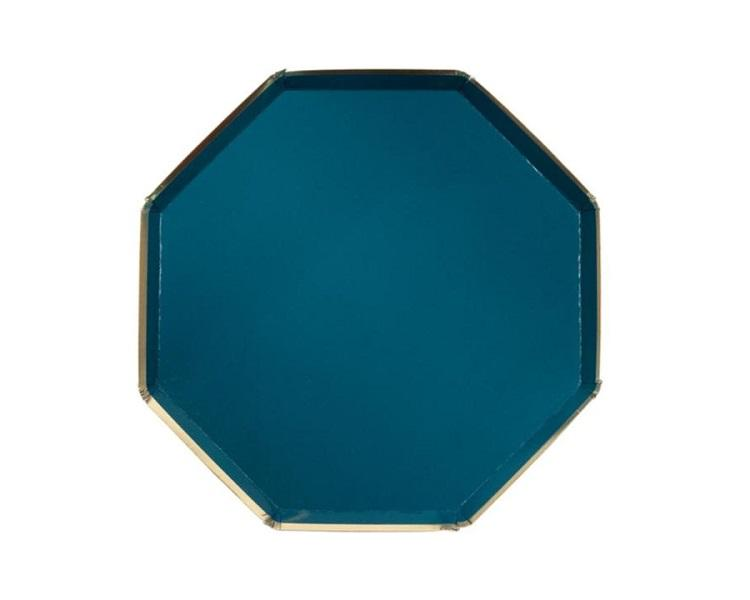 Paper Plates And Bowls - Dark Teal Plates, Large