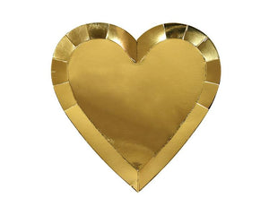 Paper Plates And Bowls - Gold Foil Heart Paper Plates, Large