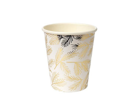 Paper Plates And Bowls - Gold Foil Pine Paper Cups