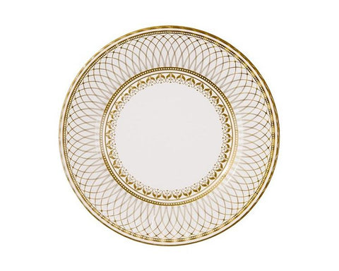 Paper Plates And Bowls - Gold Porcelain Paper Plates, Large