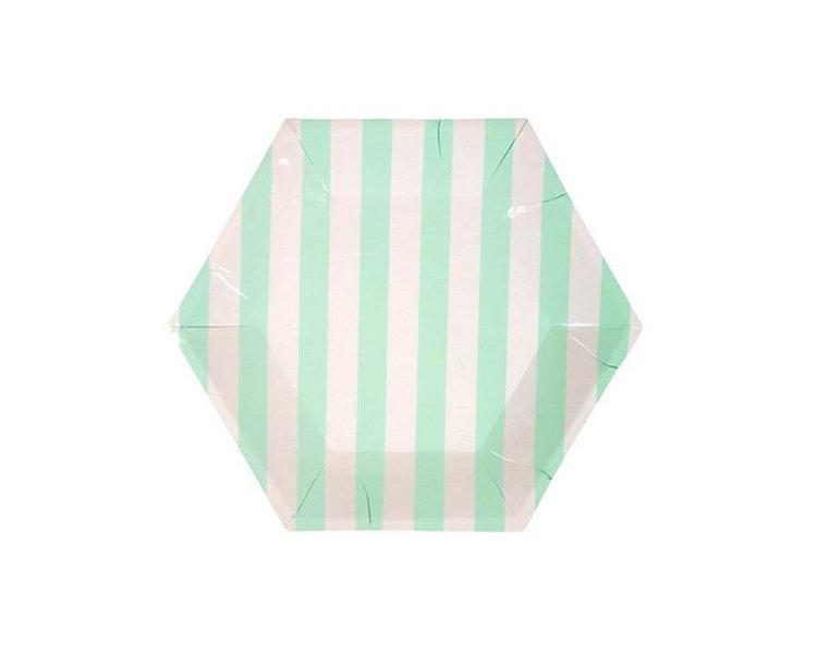 Paper Plates And Bowls - Mint Pastel Stripe Paper Plates, Small