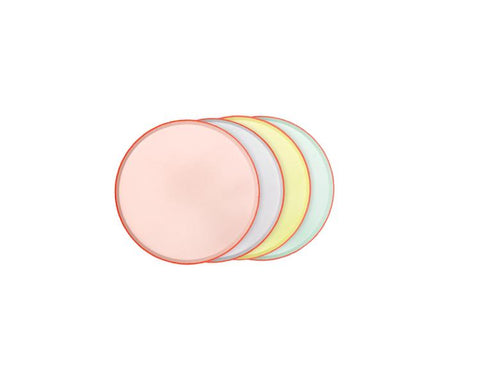 Paper Plates And Bowls - Pastel Round Cocktail Plate With Neon Edge
