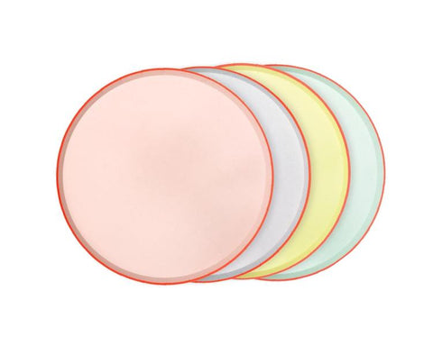 Paper Plates And Bowls - Pastel Round Dinner Plate With Neon Edge