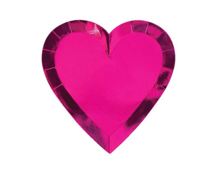 Paper Plates And Bowls - Pink Heart Die Cut Foil Plates Large  sc 1 st  Charmios & Pink Heart Shaped Plates