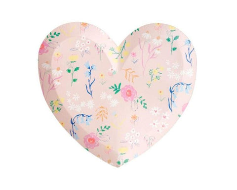 Paper Plates And Bowls - Wildflower Heart Plates, Large