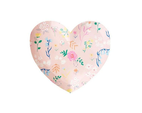Paper Plates And Bowls - Wildflower Heart Plates, Small