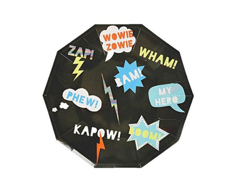Paper Plates And Bowls - Zap! Super Hero Paper Plates, Large