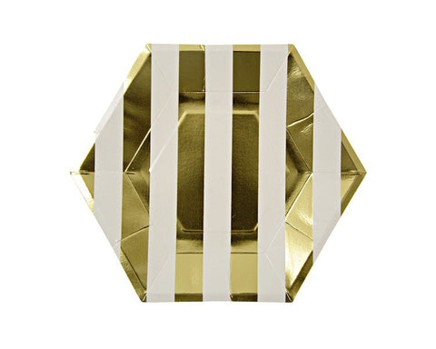 Paper Plates - Foil Gold Stripes Large Paper Plates, 8 Pcs